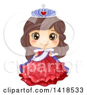 Clipart Of A Brunette Caucasian Princess Or Beauty Queen Royalty Free Vector Illustration by BNP Design Studio