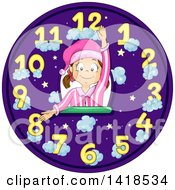Clipart Of A Brunette Caucasian Girl In Pjs Forming The Hands Of A Bedtime Clock Royalty Free Vector Illustration by BNP Design Studio