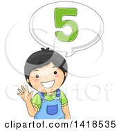 Clipart Of A Happy Asian School Boy Talking And Saying 5 Royalty Free Vector Illustration