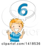 Clipart Of A Red Haired Caucasian School Boy Counting And Saying Number 6 Royalty Free Vector Illustration