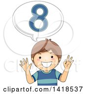 Clipart Of A Brunette Caucasian School Boy Counting And Saying Number 8 Royalty Free Vector Illustration
