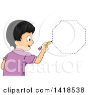 Clipart Of A Happy Asian School Boy Drawing An Octagon Shape Royalty Free Vector Illustration