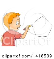 Clipart Of A Red Haired Caucasian School Boy Drawing A Pentagon Shape Royalty Free Vector Illustration
