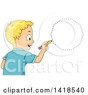 Clipart Of A Blond Caucasian School Boy Drawing A Decagon Shape Royalty Free Vector Illustration