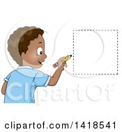 Clipart Of A Happy African School Boy Drawing A Square Shape Royalty Free Vector Illustration