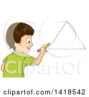 Clipart Of A Brunette Caucasian School Boy Drawing A Triangle Shape Royalty Free Vector Illustration