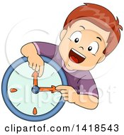 Clipart Of A Brunette Caucasian Boy Learning How To Read A Wall Clock Royalty Free Vector Illustration by BNP Design Studio