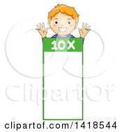 Clipart Of A Red Haired Caucasian School Boy Over A Number 10 Times Table Royalty Free Vector Illustration