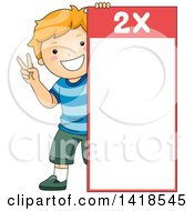 Red Haired Caucasian School Boy By A Number 2 Times Table