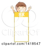 Clipart Of A Brunette Caucasian School Boy Over A Number 8 Times Table Royalty Free Vector Illustration