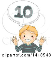 Clipart Of A Red Haired Caucasian School Boy Counting And Saying Number 10 Royalty Free Vector Illustration