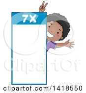 Clipart Of A Happy African School Boy By A Number 7 Times Table Royalty Free Vector Illustration by BNP Design Studio