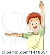 Clipart Of A Brunette Caucasian School Boy Depicting A Right Angle Royalty Free Vector Illustration