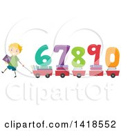 Clipart Of A School Boy Pulling Wagons Or Carts With Books And Numbers Royalty Free Vector Illustration by BNP Design Studio