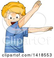 Clipart Of A Blond Caucasian School Boy Depicting An Acute Angle Royalty Free Vector Illustration