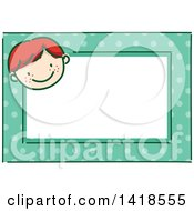 Clipart Of A Sketched Red Hair Caucasian Boys Face On A Polka Dot Tag Frame Royalty Free Vector Illustration