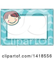 Clipart Of A Sketched Brunette Caucasian Boys Face On A Blue Name Tag Frame Royalty Free Vector Illustration