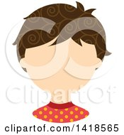 Clipart Of A Faceless White Boy With Curly Brown Hair Royalty Free Vector Illustration