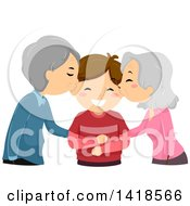 Clipart Of A Senior Couple Or Grandparents Kissing A Boy Royalty Free Vector Illustration