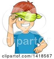 Blindfolded Caucasian Boy Peeking