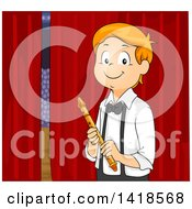 Clipart Of A Happy Caucasian Boy Ready To Play A Flute In A Talent Show Royalty Free Vector Illustration