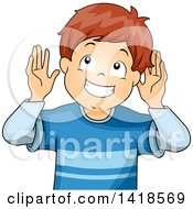 Clipart Of A Brunette Caucasian Boy Listening Royalty Free Vector Illustration
