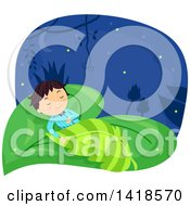 Clipart Of A Boy Sleeping On A Leaf Bed Royalty Free Vector Illustration