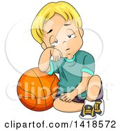 Clipart Of A Tired Blond Caucasian Boy Leaning On A Basketball Royalty Free Vector Illustration