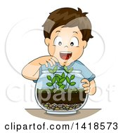Clipart Of A Brunette Caucasian Boy Arranging A Terrarium Royalty Free Vector Illustration by BNP Design Studio
