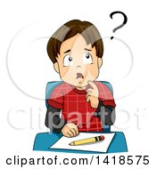 Clipart Of A Confused Brunette Caucasian School Boy Thinking Royalty Free Vector Illustration