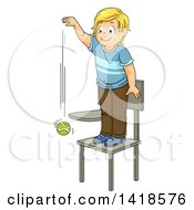Clipart Of A Blond Caucasian School Boy Standing On A Chair And Dropping A Ball Royalty Free Vector Illustration