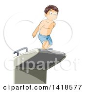 Clipart Of A Nervous Brunette Caucasian Boy Jumping Off Of A Diving Board Royalty Free Vector Illustration