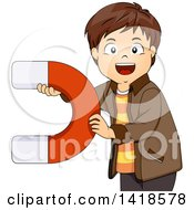 Clipart Of A Brunette Caucasian Boy Holding A Large Magnet Royalty Free Vector Illustration