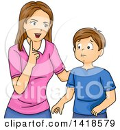 Clipart Of A Brunette Caucasian Mother Lecturing Her Son Or Teaching Him Values Royalty Free Vector Illustration by BNP Design Studio