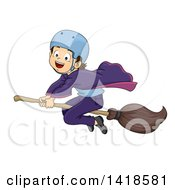 Clipart Of A Brunette Caucasian Wizard Boy Riding A Broomstick Royalty Free Vector Illustration