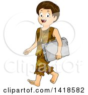Clipart Of A Caveman School Boy Walking And Carrying A Stone Tablet Royalty Free Vector Illustration
