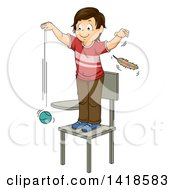 Clipart Of A Brunette Caucasian School Boy Standing On A Chair Dropping A Ball And A Feather Royalty Free Vector Illustration