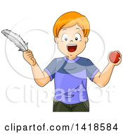 Clipart Of A Red Haired Caucasian Boy Comparing A Ball And Feather Royalty Free Vector Illustration