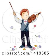 Clipart Of A Caucasian Boy Being Showered With Flowers After Playing A Violin Royalty Free Vector Illustration