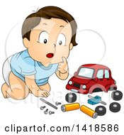 Clipart Of A Brunette Caucasian Baby Boy Playing With A Toy Car And Parts Royalty Free Vector Illustration