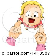 Clipart Of A Happy Blond Caucasian Baby Holding Hands And Looking Up Royalty Free Vector Illustration