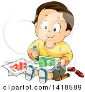 Poster, Art Print Of Happy Brunette Caucasian Baby Boy Sitting And Doodling