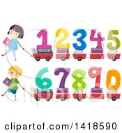 Clipart Of School Chidren Pulling Wagons Or Carts With Books And Numbers Royalty Free Vector Illustration by BNP Design Studio
