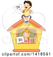 Clipart Of A Caucasian School Boy And Girl Holding On And In Signs Royalty Free Vector Illustration