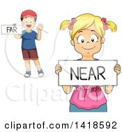Clipart Of A Caucasian School Boy And Girl Holding Far And Near Signs Royalty Free Vector Illustration