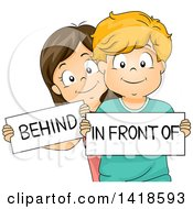 Clipart Of A Caucasian School Boy And Girl Holding Behind And In Front Of Signs Royalty Free Vector Illustration