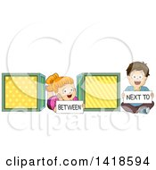 Clipart Of A Caucasian School Boy And Girl Showing The Difference Of Between And Next To Royalty Free Vector Illustration
