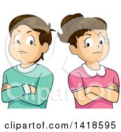 Clipart Of A Stubborn Brunette Caucasian Boy And Girl With Folded Arms Standing Back To Black Royalty Free Vector Illustration