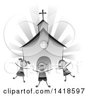 Clipart Of A Grayscale Group Of Children Playing In Front Of A Church Royalty Free Vector Illustration by BNP Design Studio