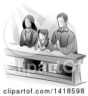 Clipart Of A Grayscale Family Kneeling And Praying Royalty Free Vector Illustration